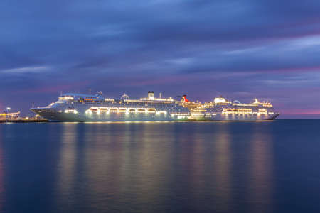 Melbourne, Australia - November 3, 2015: P&O Cruise Lines ships Pacific Pearl and Pacific Jewel docked at Station Pier in Port Philip Bay, Melbourne Australia. Editorial