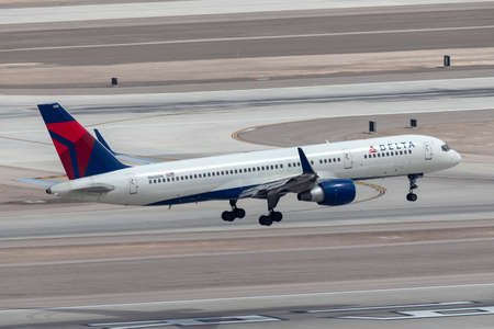 Las Vegas, Nevada, USA - May 5, 2013: Delta Air Lines Boeing 757 large commercial airliner on approach to land at McCarran International Airport in Las Vegas.