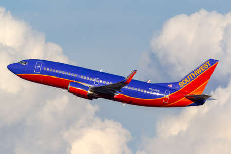 Las Vegas, Nevada, USA - May 9, 2013: Southwest Airlines Boeing 737 airliner taking off from McCarran International Airport in Las Vegas.