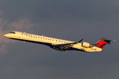 Las Vegas, Nevada, USA - May 9, 2013: Delta Connection Bombardier CRJ-900LR regional airliner aircraft departing McCarran International Airport in Las Vegas.