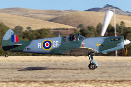 Rowland Flat, Australia - April 14, 2013: 80% Scale replica Supermarine Spitfire Mk.26 kit built aircraft registered 19-4104 on the Australian recreational aviation register.