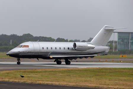 Farnborough, UK - July 20, 2014: Bombardier CL-600-2B16 (Challenger 605) business jet G-REYS.