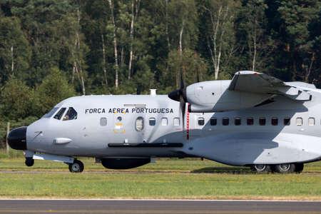 Farnborough, UK - July 18, 2014: Portuguese Air Force (Forca Aerea Portuguesa) CASA C-295MPA Maritime Patrol Aircraft 16708.