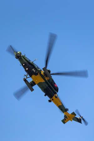 Farnborough, UK - July 16, 2014: Turkish Army (T?rk Kara Kuvvetleri) TAI (AgustaWestland) T129 ATAK Attack Helicopter. Sajtókép