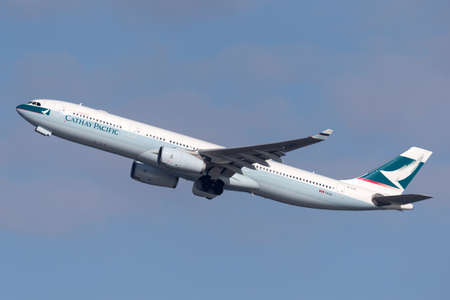 Sydney, Australia - October 7, 2013: Cathay Pacific Airbus A330 airliner taking off from Sydney Airport.