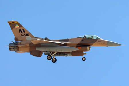 Nellis Air Force Base, Nevada, USA - May 7, 2013: United States Air Force (USAF) General Dynamics F-16C (84-0236) from to the 64th Aggressor Squadron, 57th Wing based at Nellis Air Force Base.