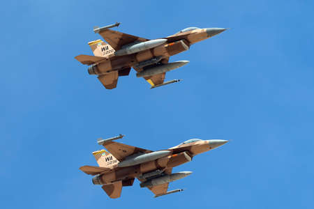 Nellis Air Force Base, Nevada, USA - May 7, 2013: United States Air Force (USAF) General Dynamics F-16C (84-0220) from to the 64th Aggressor Squadron, 57th Wing based at Nellis Air Force Base.