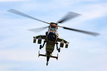 Payerne, Switzerland - August 29, 2014: French Army (Armee De Terre) Eurocopter EC665 Tiger attack helicopter. Editorial