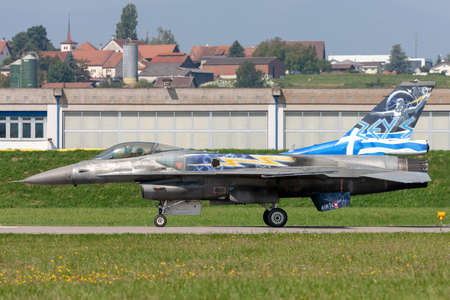 Payerne, Switzerland - September 5, 2014: Greek Air Force (Hellenic Air Force) Lockheed Martin F-16 Fighting Falcon fighter aircraft from the Zeus demonstration team.