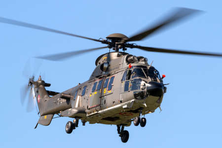 Payerne, Switzerland - August 30, 2014: Swiss Air Force Aerospatiale AS532 (TH98) military utility helicopter T-340.