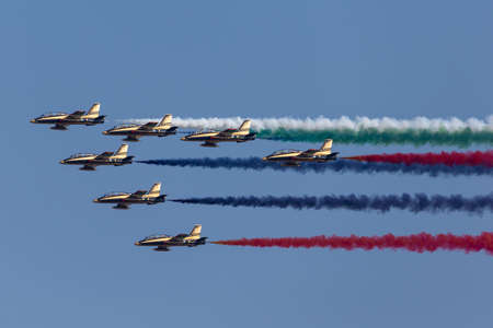 Payerne, Switzerland - September 6, 2014: Al Fursan Aerobatic team from the United Arab Emirates Air Force flying Aermacchi MB-339 jet training aircraft. Редакционное