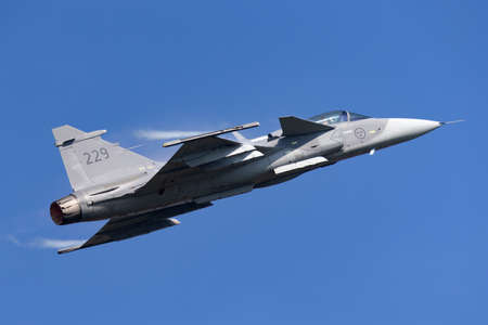 Payerne, Switzerland - September 6, 2014: Swedish Air Force Saab JAS-39C Gripen multirole fighter aircraft.