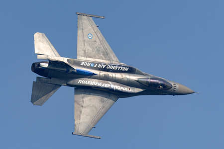 Payerne, Switzerland - September 6, 2014: Greek Air Force (Hellenic Air Force) Lockheed Martin F-16 Fighting Falcon fighter aircraft from the Zeus demonstration team.