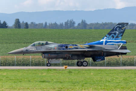 Payerne, Switzerland - September 8, 2014: Greek Air Force (Hellenic Air Force) Lockheed Martin F-16 Fighting Falcon fighter aircraft from the Zeus demonstration team.