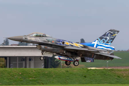 Payerne, Switzerland - September 4, 2014: Greek Air Force (Hellenic Air Force) Lockheed Martin F-16 Fighting Falcon fighter aircraft from the Zeus demonstration team.