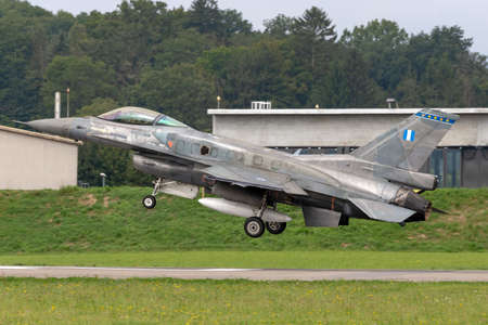Payerne, Switzerland - September 4, 2014: Greek Air Force (Hellenic Air Force) Lockheed Martin F-16 Fighting Falcon fighter aircraft.