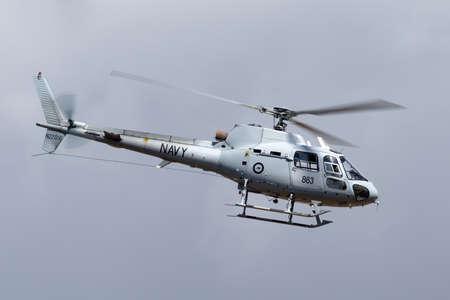 Avalon, Australia - March 1, 2015: Royal Australian Navy Aerospatiale AS-350B Helicopter from HMAS Albartoss. Éditoriale