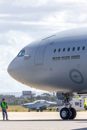 Avalon, Australia - March 1, 2015: Royal Australian Air Force (RAAF) Airbus KC-30A Multi Role Tanker Transport Aircraft from RAAF Amberley. Preparing to taxi at Avalon airport.