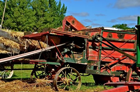 threshing: The old threshing machine is belted up and ready for the load of oat or wheat bundles   Stock Photo