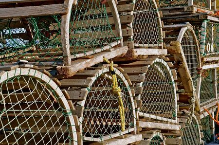 lobster pots: Stack of Antique Round Lobster Traps