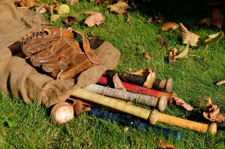 gunny: baseball collection of old wooden bats, ball, and glove in a gunny sack