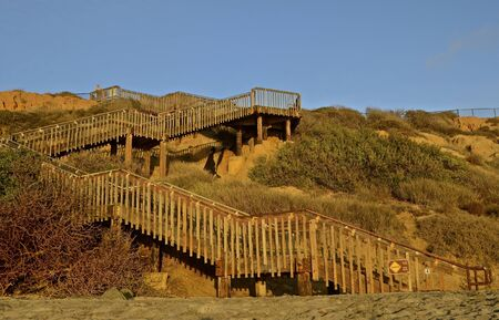 carlsbad: Steps from ocean to top of cliff Stock Photo