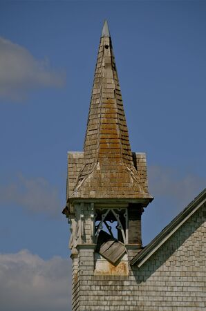 Decrepit steeple of an old church