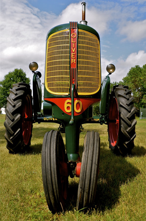 refurbished: An Oliver 60 refurbished tractor is on display at a tractor show