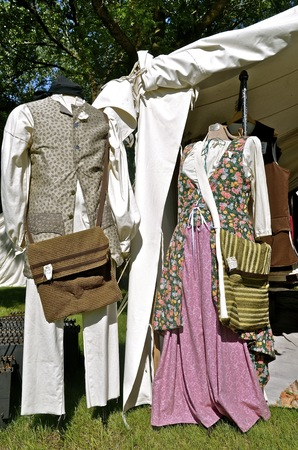 an era: Merchant outs for a man and woman on display at a festival re-enacting the Civil War era.