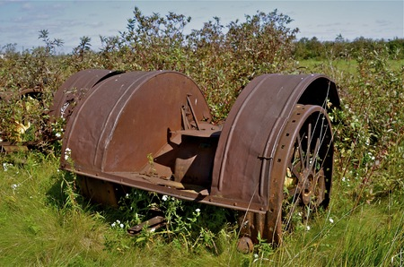 The rusty fenders belong to a  very old antique tractor left in the long grass. photo