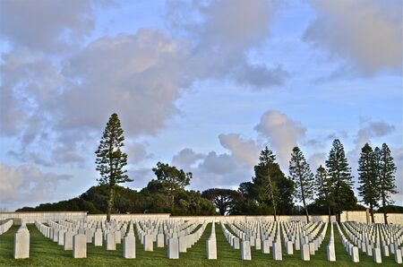 Head stones at the Point Loma National Cemetery in San Diego, California