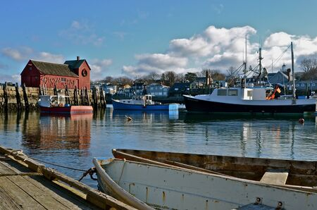 lobster pots: Fishing shack and Lobster Traps on Bradley Wharf in Rockport, Massachusetts Editorial