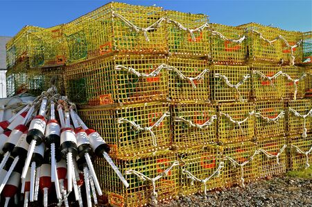 rowboats: Buoys and stacked lobster traps