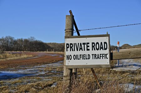 Private road on oil fields photo