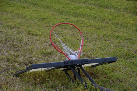 tattered: A basketball rim, backboard, and tattered net are left discarded in in the grass.