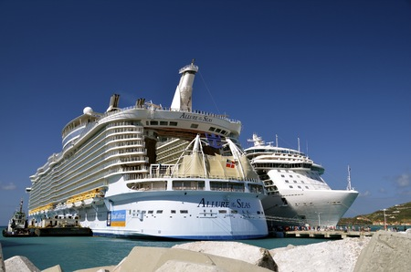 loner: Allure of the Seas cruise ship;ST. THOMAS, VIRGIN ISLANDS, February 18, 2015: The Allure of the Seas owned by the Royal Caribbean lines is the largest luxury cruise ship of the high seas and was unveiled in May, 2014. Editorial