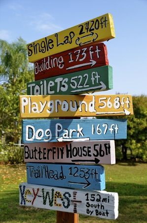 Colorfu lsigns in a park provide distances to attractions and also to Key West , Florida.