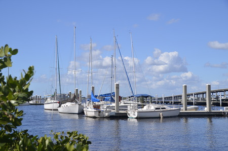 myers: Boats and yachts fill the marina in Fort Myers in the Caloosahatchee River with a bridge in the background which leads to Cape Coral, Florida. Editorial