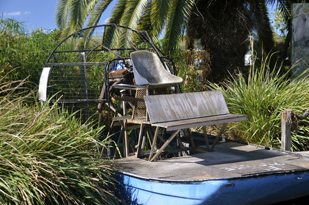 sawgrass: An antique air boat for traveling through the Everglades sawgrass is a relic of the past Stock Photo