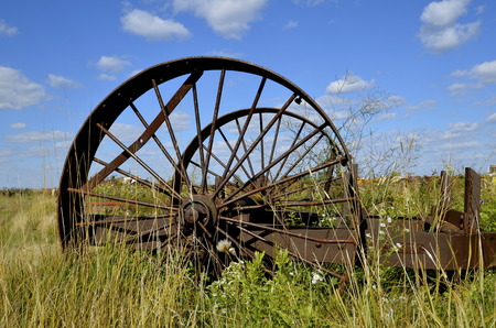 An old item of machinery with round steel wheels and spokes is found in a field of tall grass and weeds. photo