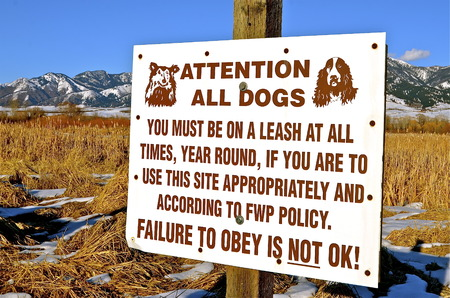 literate: Sign at a base of a mountain calling attention to all literate dogs.