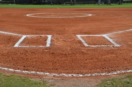 infield: Baseball infield is groomed and ready for a ball game. Stock Photo