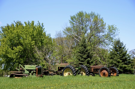 old tractors: Old tractors parked in the long grass