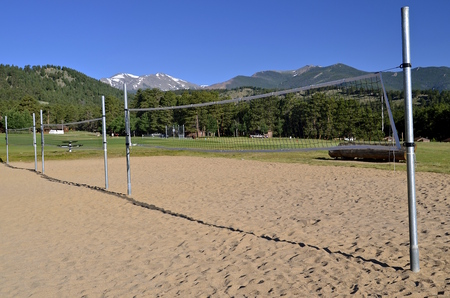 Volley: Volley ball court in the mountains gives evidence of much usage. Stock Photo