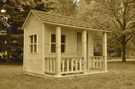 playhouse: sepiaBackyard playhouse for a child with a front veranda Stock Photo