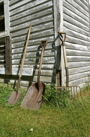 tines: Rusty old shovel, spade, and silage fork, lean against an old weathered  shed.