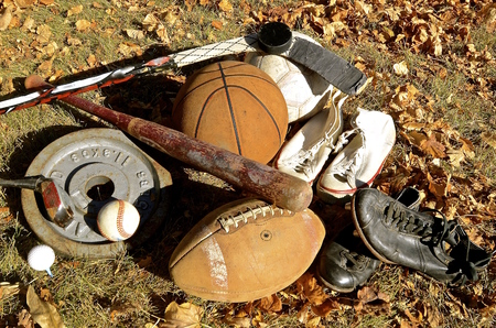 sporting equipment: A collection old sporting equipment