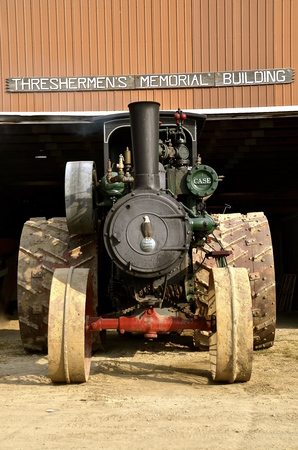 lugs: ROLLAG, MN, Sept 3, 2015: A parked steam engine is on display at the West Central Steam Threshers Reunion WCSTR where 1000s attend each Labor Day weekend in Rollag, MN each year.