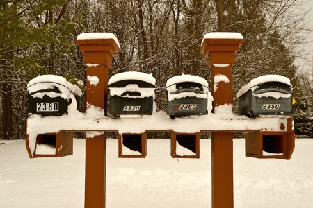 usps: Mailboxes covered with fresh layer of snow after a storm.