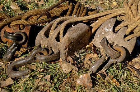 Sets of old block and tackle used for lifting